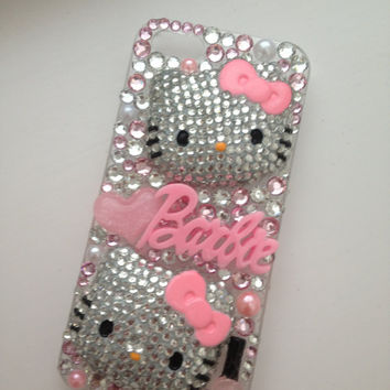Crystallised Bling Hello Kitty & Barbie Baby Pink Sparkly iPhone 5 Cell Phone Case