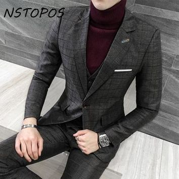 2017 Men Plaid Suits Spring Slim Fit Costume Homme Plus Size 4xl 5xl Single Breasted Business Wedding Banquet Party Suit Male