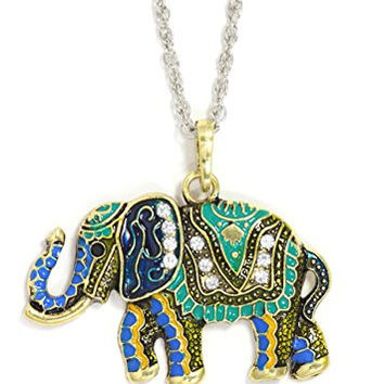 Ornate Elephant Necklace Gold Tone NY46 Crystal Indian African Enamel Pendant Fashion Jewelry