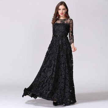 DCCKON3 and usa catwalk vintage hollow lace perspective stereo disk flower princess dress Elegant long maxi dress