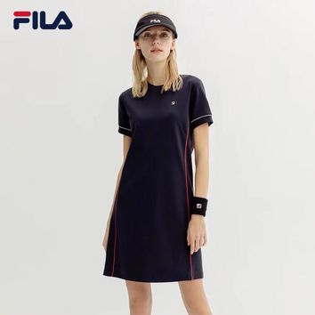 """FILA"" Women Casual Simple Short Sleeve T-shirt Mini Dress"
