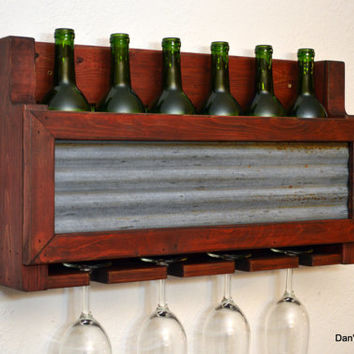 Rustic Wine Rack 6 Bottle 4 Glass Holder Weathered Corrugated Barn Tin Frame Wall Bar Red Wood Shabby Chic