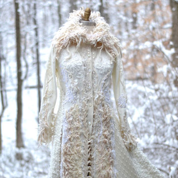 Embroidered white Wedding sweater COAT. Corset style. Size Small/ Medium. Ready to ship