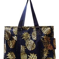 Utility Tote Multi-Pocket - Pineapple Print - 2 Color Choices