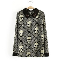 KCLOTH Women's Skull Pattern Thoughout Top Blouse T1536