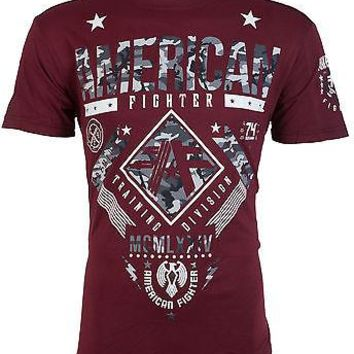 Licensed Official AMERICAN FIGHTER Mens T-Shirt LANDER Athletic BURGUNDY GREY CAMO Gym UFC $40 NWT