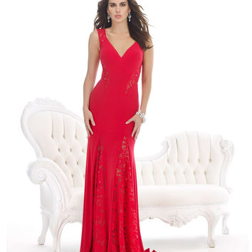 Sheer Lace Detail Red Gown