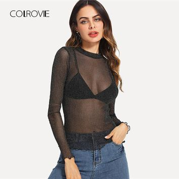 Lettuce Edge Glitter Sheer Mesh Blouse Shirt Summer Black Stand Collar Long Sleeve Sexy Blouse Casual Women Top