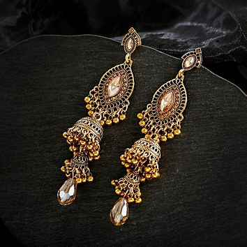 Indian Gold Sliver Long Crystal Earrings