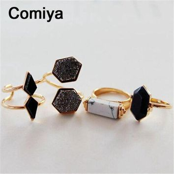 CREYUG7 Geometric black stone accessories fashion gold colors zinc alloy anel rings for lady m