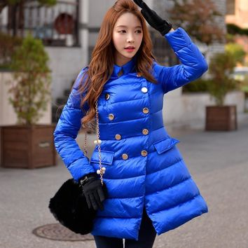 dabuwawa new 2016 thickening military style down jacket coat women pink doll