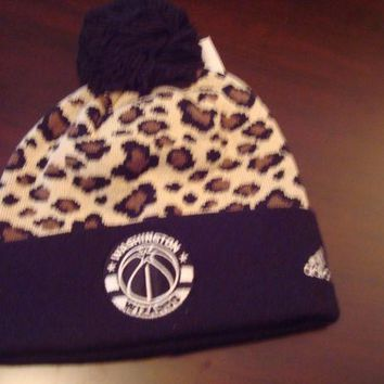 ESBONG6 WASHINGTON WIZARDS ADIDAS POM POM TOBOGGAN KNIT RETRO BEANIE SKULL HAT CAP