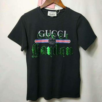 """""""Gucci"""" Fashion Casual Rainbow Letter Print Couple Short Sleeve T-shirt Top Tee"""