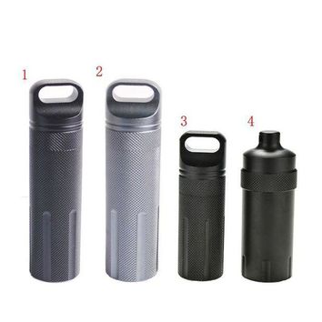 VONL8T Outdoor Super Strong CNC Waterproof Emergency First Aid Survival Pill Bottle Camping EDC Tank Box for Cigarettes Matches