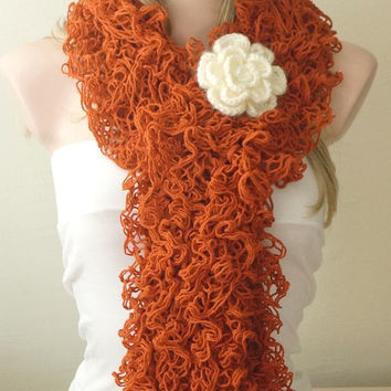 Rust Red Color- Web lace -Handmade- Crochet Scarf,  Gift with brooch
