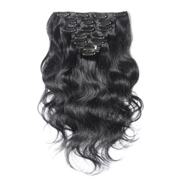 Jet Black 10pcs Body Wave Clip In Human Hair Extensions