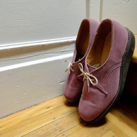 Authentic Vintage 70s Purple Suede Leather Creepers Mens Casual Shoes (sz 8.5 9)