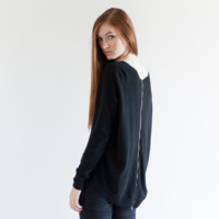 Grace Zip-Back Knit Sweater (Black)