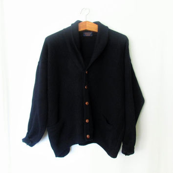 Vintage 1960s Navy Blue Brooks Brothers Wool Cardigan Sweater