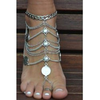 [ANK]-Silvertone Coin & Multi-Chain Foot Jewelry (Anklet)*