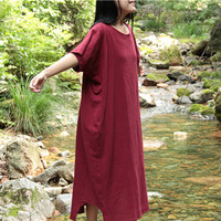 vintage long sleeve linen maxi dress