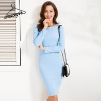 Autumn Women Dresses Series Winter Casual Solid Texture Thick Fabric Basic Midi Dress For Women