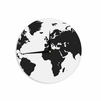 World Map - Black White Geological Digital Wall Clock