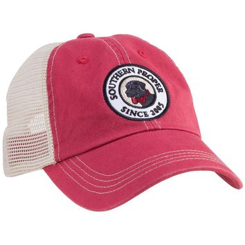 Original Logo Patch Trucker Hat in Red by Southern Proper