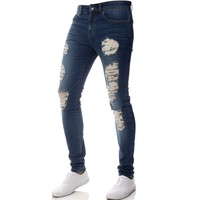 Mens Jeans Casual Skinny Pencil Pants Solid Stretch Denim Hip Hop Jeans Ripped Beggar Jeans With Knee Hole For Youth Men