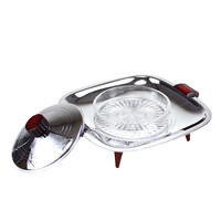 Glo-Hill Covered Butter Dish, Chrome, Burgundy, 1960s Mid-Century