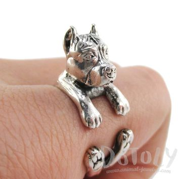 3D Pit Bull Dog Shaped Animal Wrap Ring in 925 Sterling Silver | Sizes 5 to 8.5