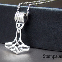 Celtic Thors hammer Silver Necklace Silver Hammer Thors Pendant Thors Jewelry Sterling Silver Thor's Hammer Viking Necklace Unisex Jewelry