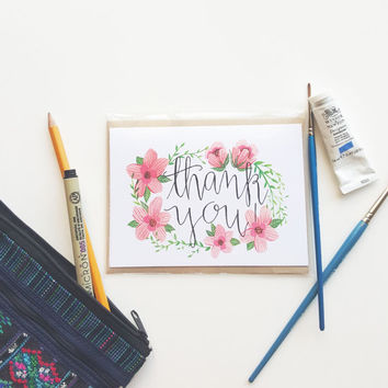 Thank you card, note card, hand painted card, a2 card, greeting card, thank you note
