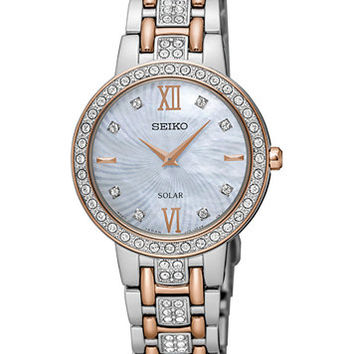 Seiko Women's Solar Two-Tone Stainless Steel Bracelet Watch 28mm SUP362 | macys.com