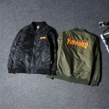 DCCK8H2 Tide brand autumn and winter the new Thrasher Flame Street flight jacket cotton men and women couple jacket Black
