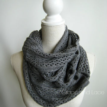 Nellie Knit Scarf - MID GREY - open weave knit scarf with button closure infinity scarf - chunky scarf - knit infinity scarf - button scarf