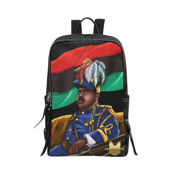 Marcus Garvey Black Vegan Leather Unisex Slim Backpack (Model 1664)
