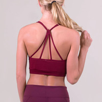 NikiBiki Cross Strap Bra Top - Maroon