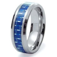 Tungsten Carbide Blue Carbon Fiber Inlay Wedding Band Ring 8mm