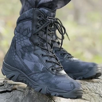 Outdoor Sport Hiking Shoes Tactical Boots Military Combat Boot Army Non-slip Shoes Mountain Chaussure Chasse Sapatos Masculino