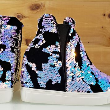 "Uneek Blue Holo Sequin Pull On Sneaker Wedge 3.75"" Heel"