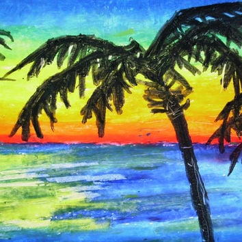 Palms at Sunset, 14x17 Beach Landscape, Oil Pastel Drawing on Bristol Board, Palm Tree Landscape, Beach Oil Pastel Drawing, Wall Art