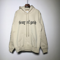 Fog fear of god Tide brand flannel headband loose hooded sweater hood apricot