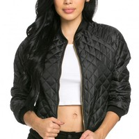 Lightweight Quilted Bomber Jacket (Plus Sizes Available)