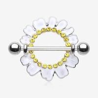 A Pair of Adorable White Daisy Nipple Shield Ring