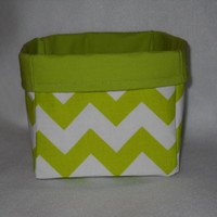 Lovely, Large Lime Green Chevron Fabric Basket