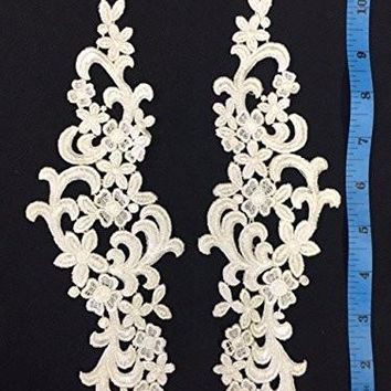 "2 Pairs, Victorian Venise Lace Applique Pair Collar, Excellent Stitching, Great for Costumes,  Bridal, Crafts, etc, 7""x10.5"" (Item# A0749N8)"