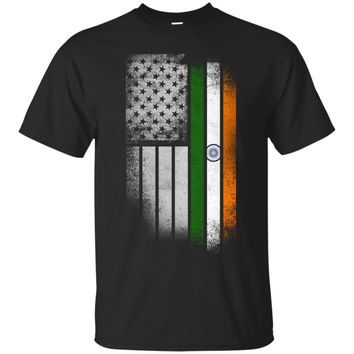 Indian American Flag - USA India Flag T Shirt_Black