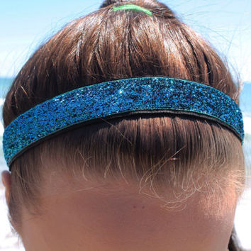 Nonslip Teal Glitter Headband – No Slip Stretchy Sports Headband – Ribbon & Elastic Hair Accessory – Athletic Head Band – Softball Gift