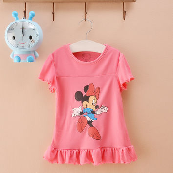 2016 bow girls clothing minnie mouse children pretty tops baby girl summer cartoon cotton polo kids clothes blouse tees shirt